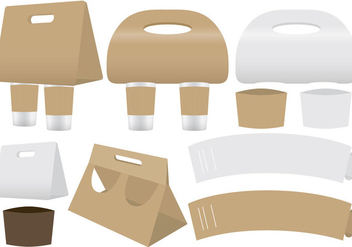 Coffee Holders And Sleeve Vectors - vector gratuit(e) #356127