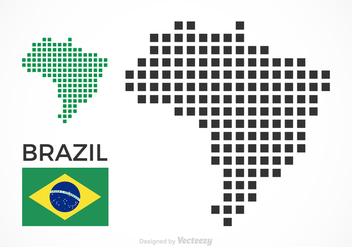 Free Brazil Vector Pixel Map - Free vector #356347