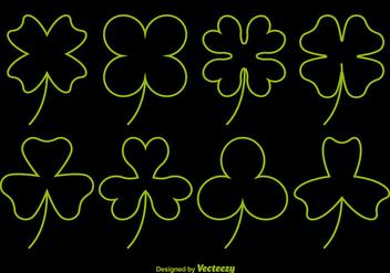 Neon Clover Vector Icons - Free vector #356397