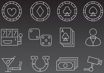 Casino Line Icon Vectors - Free vector #356837