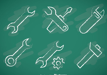 Repair Tools Chalk Draw Icons - Free vector #357007