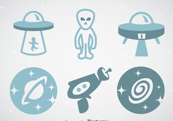 Space And Alien Icons Vector Sets - Free vector #357057