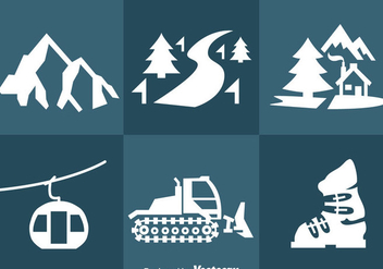 Snow Resort Icons Vector - Free vector #357137