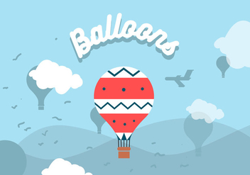 Hot Air Balloons Landscape Vector - бесплатный vector #357147