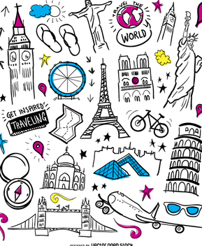 Travelling elements wallpaper - Free vector #357427