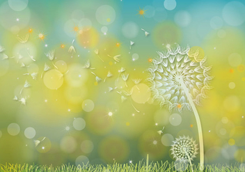 Dandelions Hijau Background Vector - vector gratuit #357577