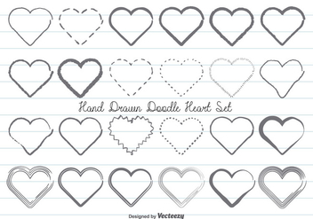 Hand Drawn Doodle Hearts Set - Free vector #358347