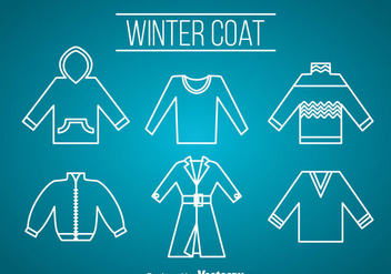 Winter Coat Icons Vector - Free vector #358357