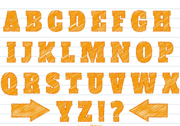 Orange Scribble Style Alphabet Set - Free vector #359727
