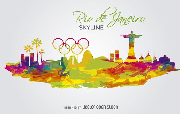 Olympics 2016-Rio de Janeiro Skyline - vector gratuit #360037