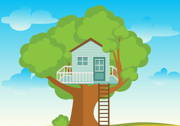 Tree House Flat Vector - vector gratuit #360097