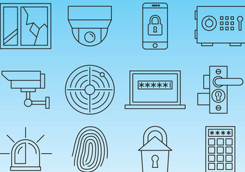 Security Line Icons - vector #360107 gratis