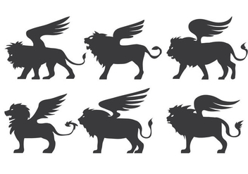 Winged Lion Vector - Free vector #360447