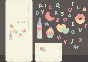 Vector Fridge Magnets Illustration - vector gratuit #360497