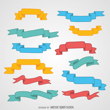 Colorful ribbon set - Free vector #360537