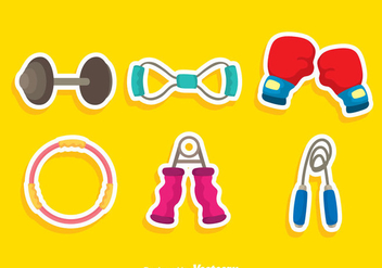Exercise Equipment Colors Icons - Free vector #361197