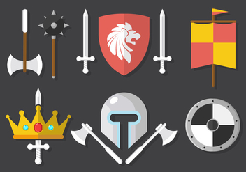 Medieval Weapons And Gear Background - Free vector #361227