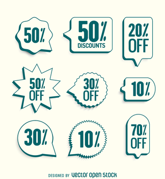 Sale labels with green borders - vector gratuit #361717