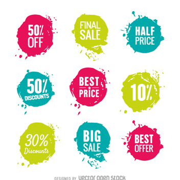 Bright colors sale stickers - Free vector #361997