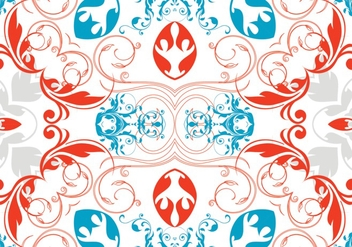 Red White and Blue Abstract Foral Pattern - Free vector #362557
