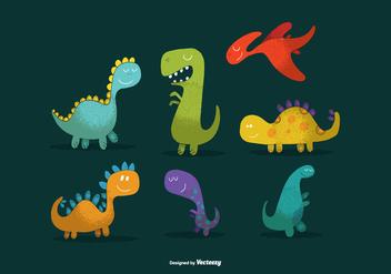 Cute Dinosaur Vectors - Kostenloses vector #362607