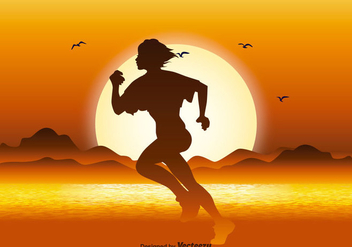 Running Silhouette in Sunset Illustration - Kostenloses vector #362747