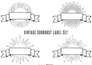 Vintage Sunburst Label Set - vector gratuit(e) #362807