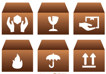Fragile Icons On Box - Free vector #362907