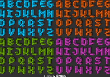 3D Pixel Alphabet Vector Set - Free vector #363187