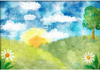 Free Vector Watercolor Landscape - Free vector #363417