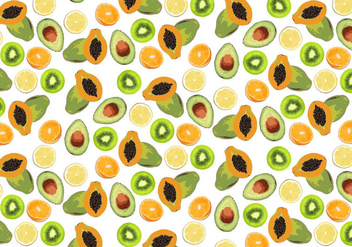 Tropical Fruits Background Vector - Free vector #363587
