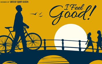 I feel good bicycle design - vector gratuit #363777