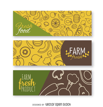 Fresh vegetables banner set - vector gratuit #364477