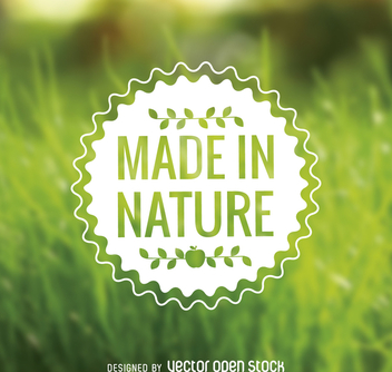 Made in nature food sticker - vector gratuit #364487