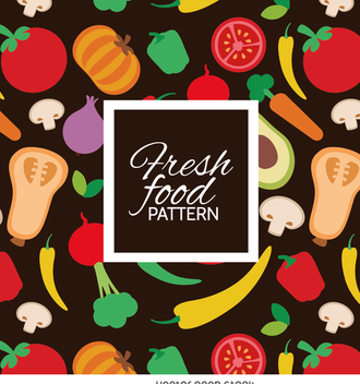 Colorful fresh vegetables pattern - Free vector #364497