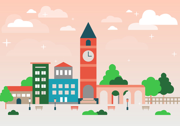 Free Flat Urban Landscape Vector Background - Free vector #365257