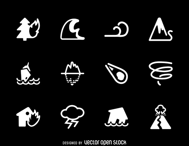 Collection of natural disaster icons - Free vector #365567
