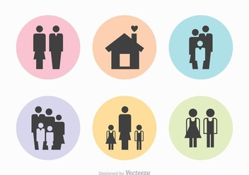 Free Family Silhouette Vector Icons - Free vector #365617