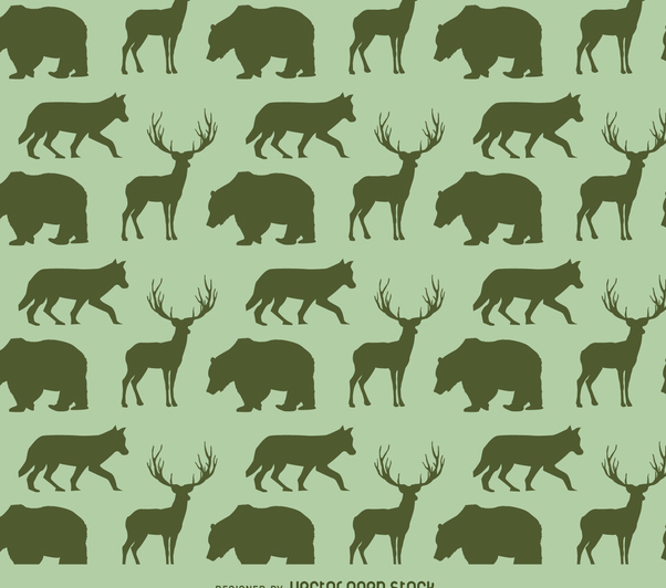 Animals silhouette pattern - Free vector #366237