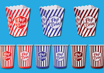 Popcorn Box Vector Set - Free vector #366467