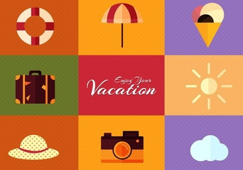 Free Vector Summer Flat Design Set - Free vector #367387