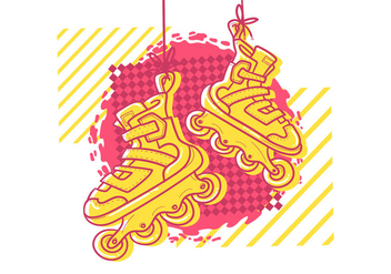 Retro Pink Roller Blades - Kostenloses vector #367497