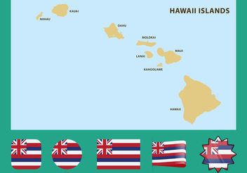 Hawaii Map - vector gratuit #367647