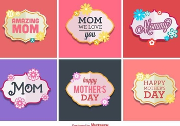 Happy Mother's Day Vector Labels - Kostenloses vector #367837