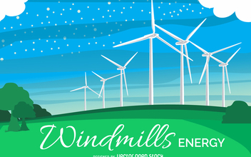 Windmill energy illustration - бесплатный vector #367937
