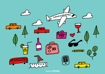 Hand Drawn Travel Vector Elements. - vector gratuit #368487