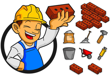 Bricklayer And Tools Icon Vector - Free vector #368747