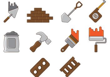 Set Of Bricklayer Tool - Kostenloses vector #369357
