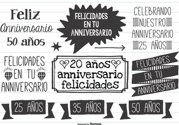 Cute Hand Drawn Style Anniversario Labels - Free vector #369597