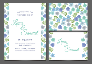 Vector Blue Floral Wedding Invite - Free vector #369937